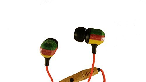 iHip Stained Colored Wood Earbud Headphones Rasta - Jamin Earphones Microphone (Rasta Colored Headphones)