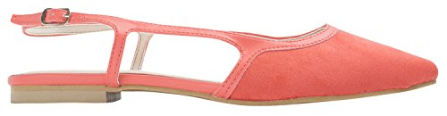 Sweet Holic Mujeres Faux Suede Slingback Flat Zapatos Pastel Rojo