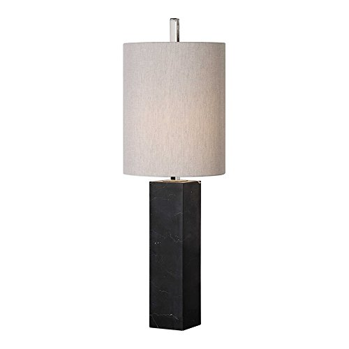 Table Lamp Black Column (Uttermost Delaney Black Marble Square Column Table Lamp)
