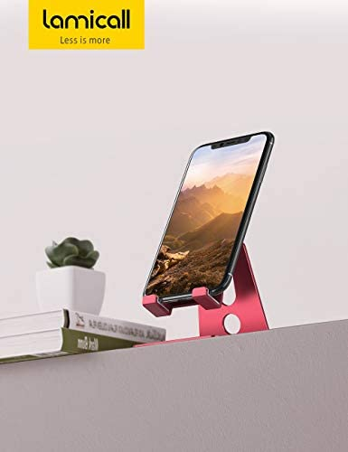 Adjustable Cell Phone Stand, Lamicall Phone Stand : [Update Version] Cradle, Dock, Holder Compatible with iPhone Xs XR 8 X 7 6 6s Plus SE 5 5s 5c Charging, Accessories Desk, Android Smartphone – Red 31DwPJIiW 2BL