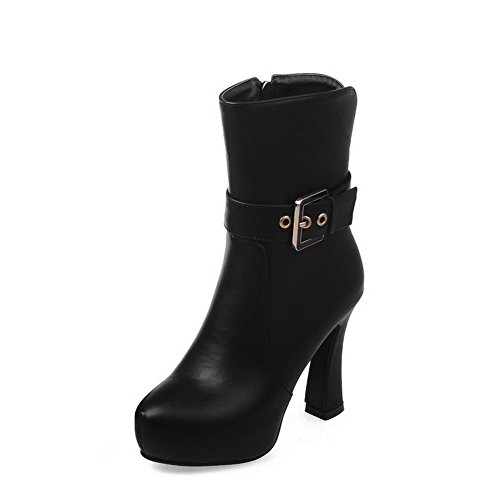 High Solid AmoonyFashion Black Women's Boots Toe Chains Closed Round Heels Low top xxBgtH8