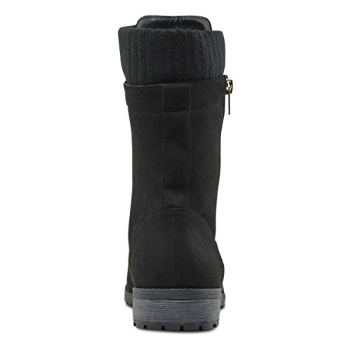 Lace Premier Suede Low Ankle Black Knitted up M Heel Cuff Military Boots Toe Round Combat Standard wwqI14S