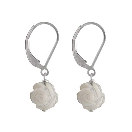 Handpicked AA Quality White Carved Flower Mother of Pearl 925 Sterling Silver Dangling Earrings