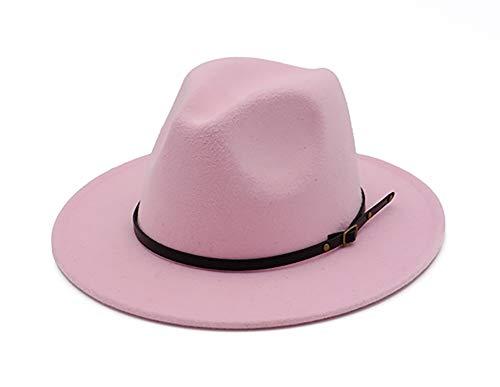 Fedora Hat Pink (EachEver Women's Woolen Wide Brim Fedora Hat Classic Jazz Cap with Belt Buckle Pink)