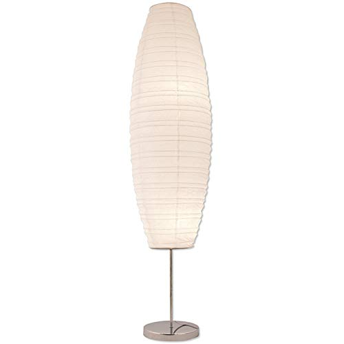 Light Accents Diploma Floor Lamp - Japanese Style Standing Lamps for bedrooms 50 Inches Tall with White Paper Shade - Floor Lamps for Living Room - Contemporary Floor Lamp]()