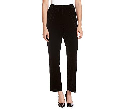 Alfred Dunner Women's Velvet Med Pant, Black, 12