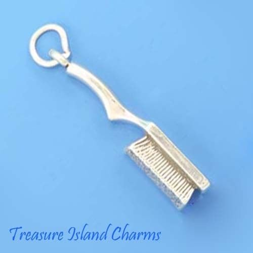 Stylists Hair Brush 3D 925 Solid Sterling Silver Charm Pendant Crafting Key Chain Bracelet Necklace Jewelry Accessories Pendants - Nfl Solid Earrings