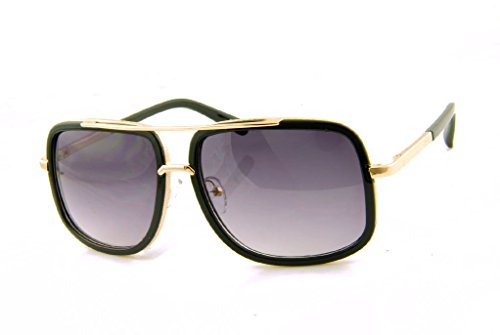 AStyles - Large Retro Aviator Sunglasses One Designer Mach Metal Square Frames (Gold-Black, - Gold Black Frames Aviators With