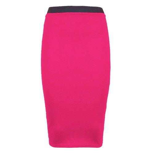 crayon Runway Splash Pour jupe extensible moulante longue pour mi femme Fuchsia bureau unie qwaaUHI