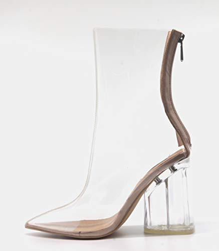 dd641332f0d Cape Robbin Crystal Glaze Womens Perspex Lucite Clear Pointy Toe Chunky  Heel Ankle Boots,Nude,9