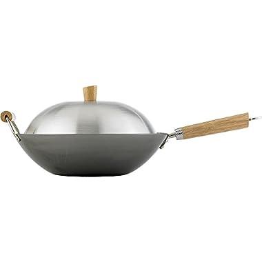 Helen Chen's Asian Kitchen 14-inch Carbon Steel Flat Bottom Lidded Wok Stir Fry Pan Set