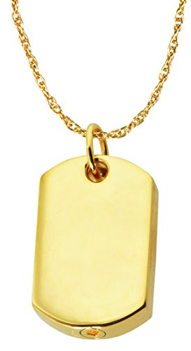 Cremation Memorial Jewelry: 14K Solid Yellow Gold Dog Tag + Text Engraving 14k Yg Box