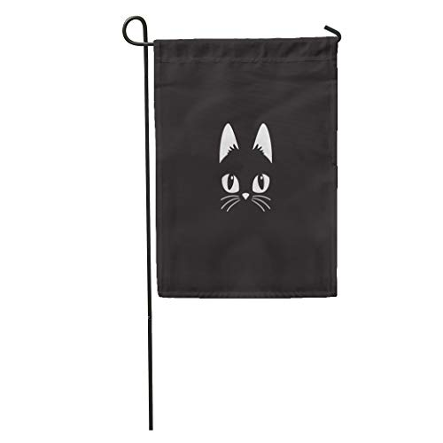 Semtomn Garden Flag Face Simple Cartoon Cat on Halloween Head Black Cute Animal Home Yard House Decor Barnner Outdoor Stand 12x18 Inches Flag