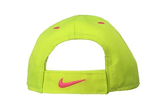 Signature Adjustable Hat - NIKE Just Do It Sports Hat Adjustable Sun Cap (4-6X) (Volt w/ Signature Hot Pow Swoosh & Trim)