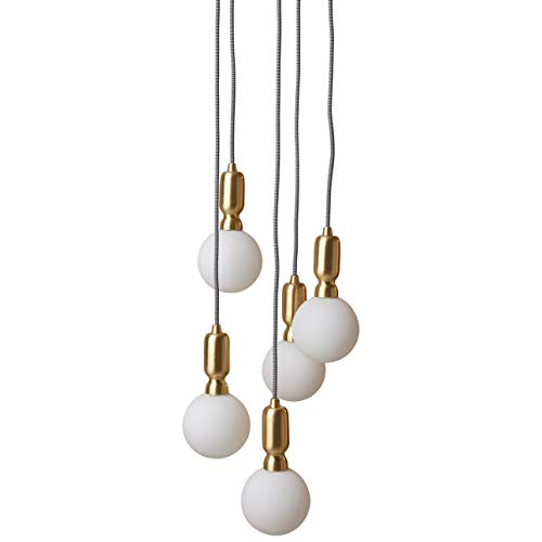 Rivet Diana Mid Century Modern 5-Globe Ceiling Pendant Chandelier With LED Light Bulbs - 65 Inch Cord, Gold