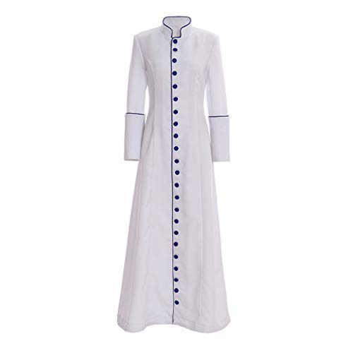 1791's lady Women's Minister Cassock Choir Cassock Robe Clergy Pulpit Liturgical Vestment (S:Height63-65 Chest34-35 Waist26-27, White)