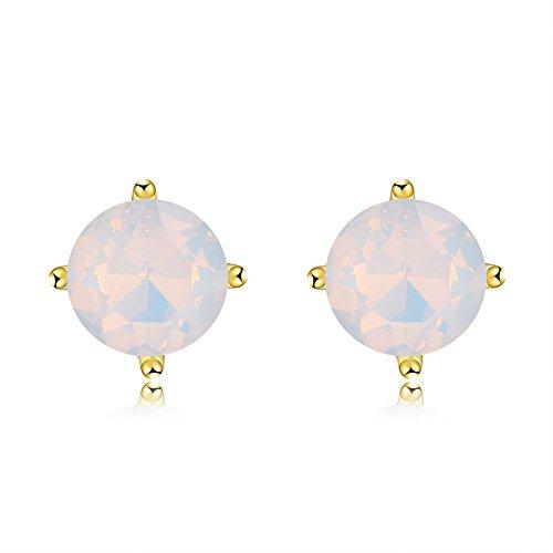18K Gold Plated Opal Stud Earrings 8MM Round for Women (18ct Yellow Gold Opal Earrings)