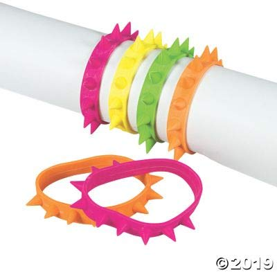 Fun Express NEON Spike Bracelets - Jewelry - 24 Pieces: Toys & Games