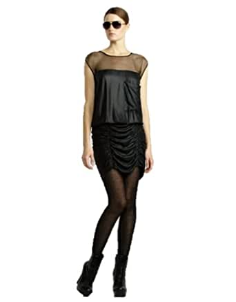 Bcbgmaxazria bcbg black draped ruched cocktail dress size 8