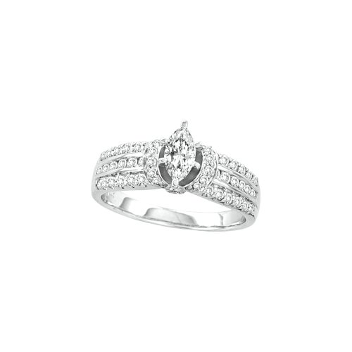 7/8 Total Carat Weight DIAMOND 3/8 Total Carat Weight CENTER MARQUISE BRIDAL RING by Jawa Fashion