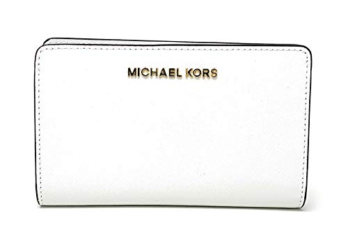 - Michael Kors Jet Set Travel Saffiano Leather Slim Bifold Wallet (Optic White)