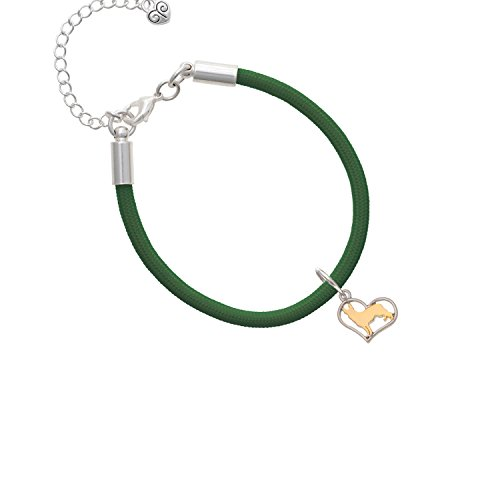 Two Tone German Shepard Silhouette Heart Kelly Green Malibu Paracord Bracelet ()