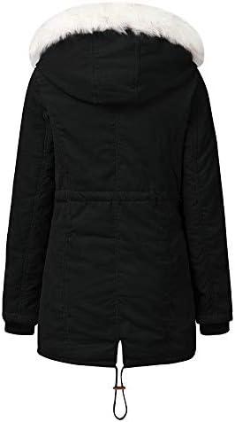 LFANH Cappotto con Cappuccio da Donna, Inverno Caldo in Pelliccia Sintetica Foderato Outwear Il Soprabito, Leggero Casual Jacket Confortevole,Nero,L