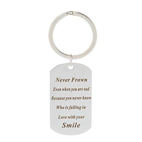ANAZOZ Rectangle Tag Silver Silver Key Ring Never Frown Even When You are Sad Because You Never Know Who is Falling in Love with Your Smile Key Chain Inspirational Gifts