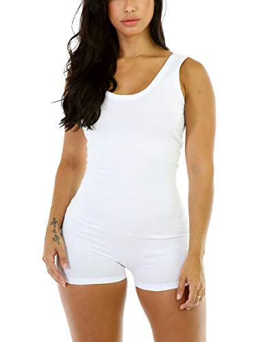 - Alaroo Women Exercise Empire Waist White Short Bodysuit,Dark-white,Large