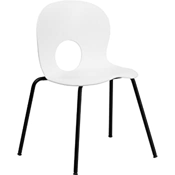 HERCULES Series 770 Lb. Capacity Designer White Plastic Stack Chair With  Black Powder Coated Frame