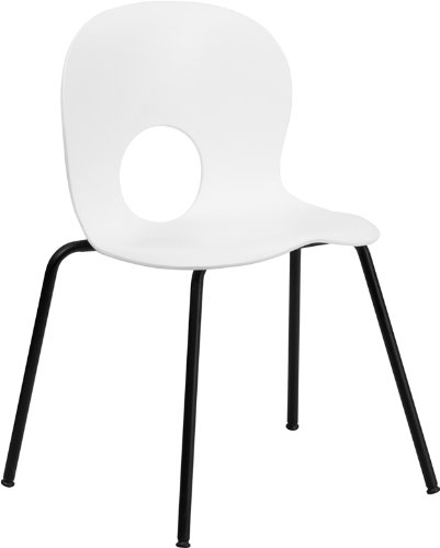 HERCULES Series 770 lb. Capacity Designer White Plastic Stack Chair with Black Powder Coated Frame Finish ()