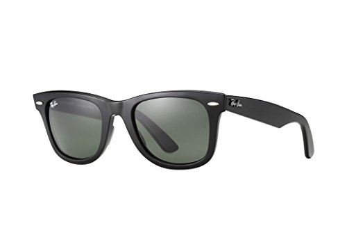 Ray-Ban RB2140 Wayfarer Sunglasses (50mm Shiny Black Frame Solid G15 Lens, 50mm Shiny Black Frame Solid G15 ()