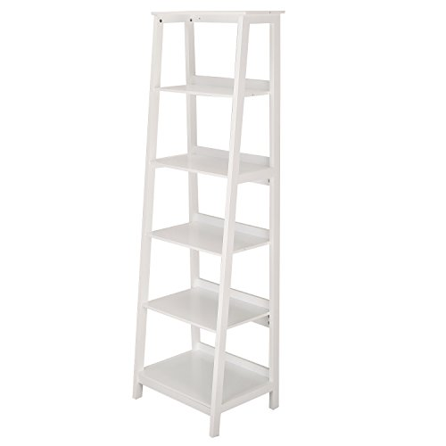 Asense Wood Bookcase ladder 5-Tier Ladder Shelf, White