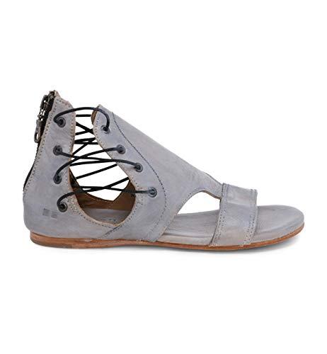 Bed|Stu Women's Sarabi Leather Sandal (8 M US, Grey Rustic Silver Metallic)