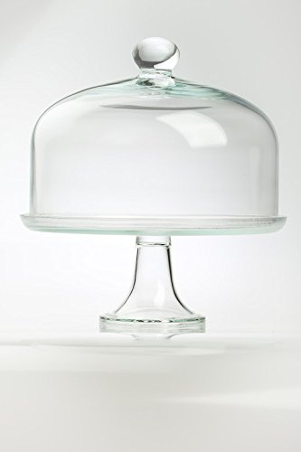 Edwanex Large Display Glass Cake Stand With Glass Design Dome Cover