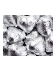 Silver Foiled Milk Chocolate Hearts 1LB Bag (one pound)