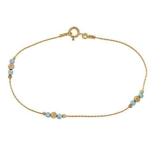 Ankle bracelet Jewelry blue opal stone gold filed chain Beach anklet Length 8.5 + 2 extension