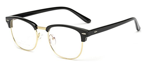 Outray Vintage TR90 Half Frame Horn Rimmed Prescription Optical Frames Glasses 2135TR-c1 - Vintage Glasses Frames Prescription