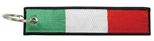 (Luso Italy Flag Key Chain, 100% Embroidered)