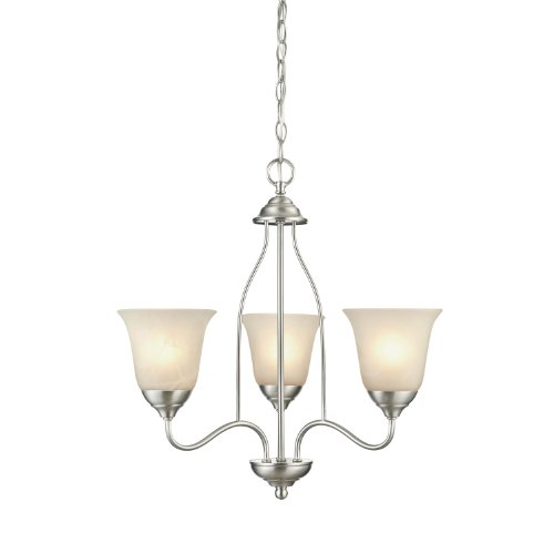 Westinghouse Chandelier Satin - Westinghouse 6226900 Clinton Three-Light Interior Chandelier, Satin Nickel Finish with White Alabaster Glass