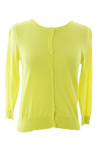 August Silk Women's Petite 3/4 Sleeve Cardigan Petite Small Kinetic Lime (3/4 Sleeve Silk Sweater)