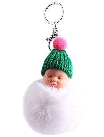 Sleeping Baby Doll Fake Fur Fluffy Ball Toys Keychain Bag Key Rings Car Key Pendant