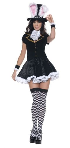 Girl In Sexy Costumes (Women's Sexy Mad Hatter Costume - Totally Mad, Black/White, Small)