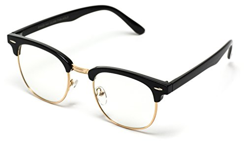 Vintage Inspired Classic Half Frame Horn Rimmed Clear Lens Glasses Black/Gold