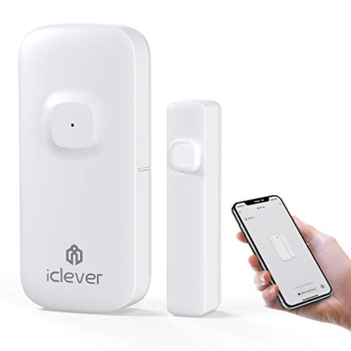iClever WiFi Door Window Sensor, Smart Sensor Contact Door Window Sensor, Compatible with Alexa Google Assistant, No Hub Required, Wireless Security Alarm Door Open Chime for Home Bussiness Alert