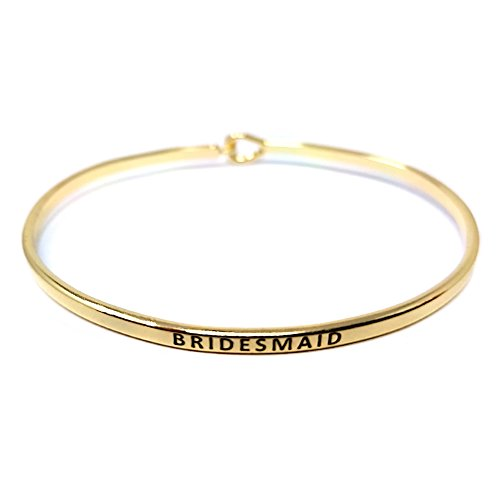 Me Plus Inspirational BRIDESMAID Positive Message Engraved Thin Bangle Hook Bracelet