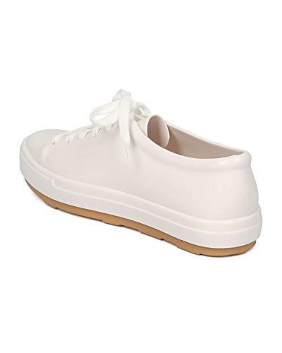 Melissa Mujer Jelly Low Top Sneaker - Lace Up Walker Sneaker - Casual Trendy Versátil Zapato Diario Be By White / Beige Jelly