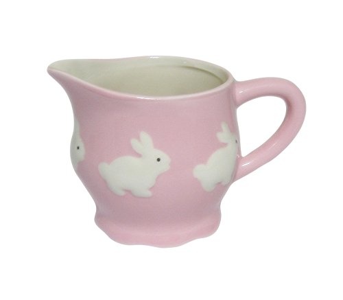 - Pink with White Bunny Rabbits Ceramic Cream Pitcher