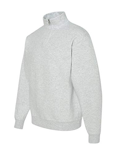 Jerzees Adult NuBlend Quarter-Zip Cadet-Collar Sweatshirt (Ash) (Medium)