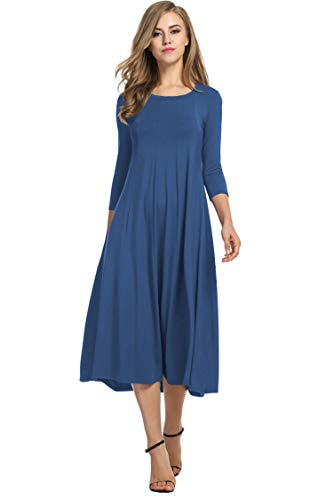 Hotouch Women's Comfy Cotton A Line Long Sleeve Scoop Neck Swing Dresses (Deep Sky Blue S)